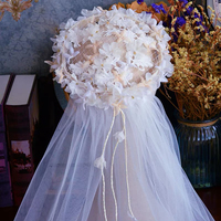 70 cm Romantic Flowers White Bridal Veils One Layer Short Comb 1T Wedding Veils with Comb with High Quality