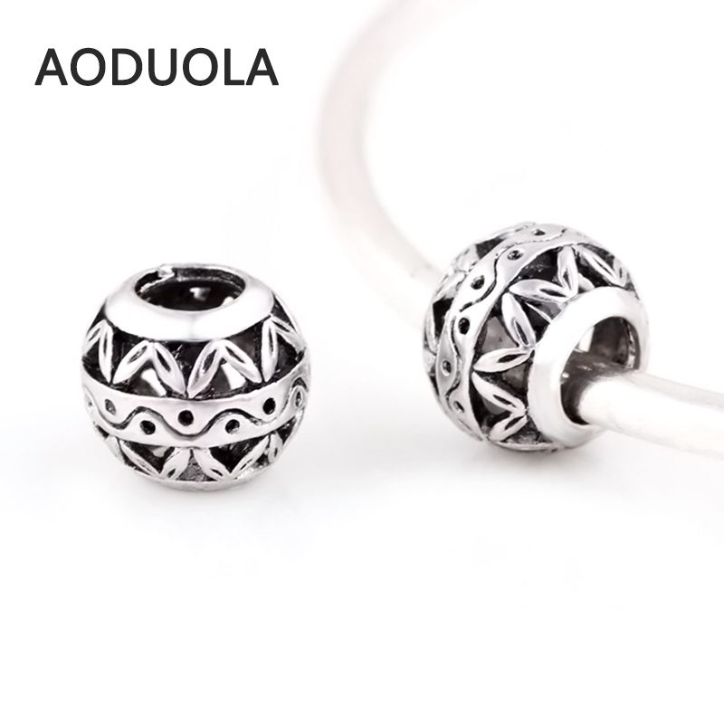 10 Pcs a Lot Silver Beads Round Shape Hollow DIY Big Hole Metal Beads Spacer Murano Bead Charm Fit For Pandora Charms Bracelet
