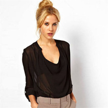 2015 Plus Size Hot Sale Chiffon Blouse Tops Luxury Deisual Pure Color Shirt Women Sexy V-neck Elegant Ol Laides