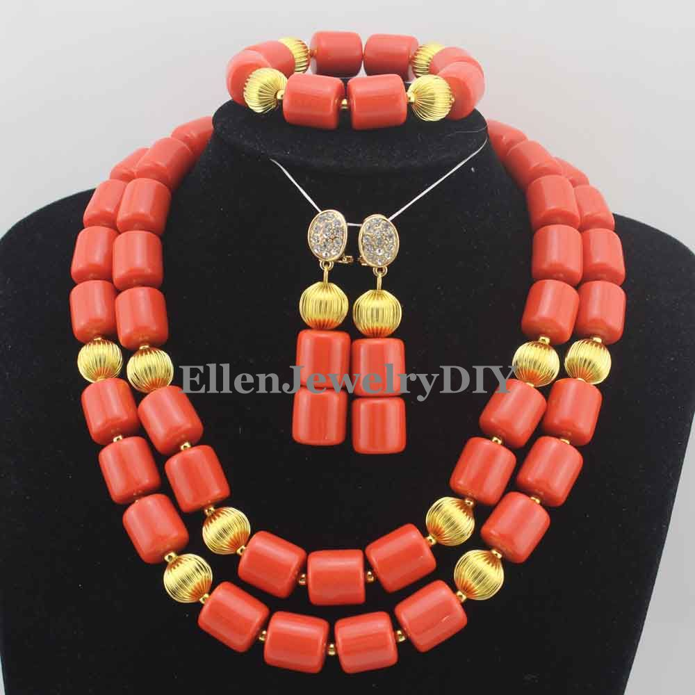 African beads Jewelry Sets Nigerian Wedding Coral Beads Jewelry Set Bridal Statement Coral necklace Set Free Shipping W11302