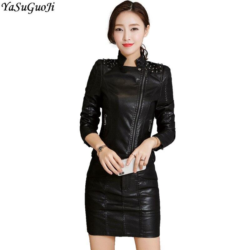 YASUGUOJI Style Punk mode PU cuir deux pièces ensemble femmes Rivet Slim veste et au-dessus du genou jupe costumes ensemble Chandal Mujer LTZ14
