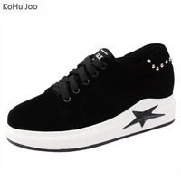 KoHuiJoo 2018 Spring Women Sneakers Oxford Shoes Flats Shoes Women Lace Up Boat Shoes Round Toe