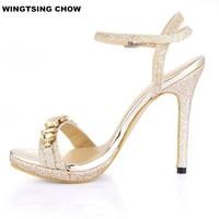 Big Size 43 Crystal Women Sandals High Heels Designer Sandals Women Luxury 2017 Chaussure Femme Shoes