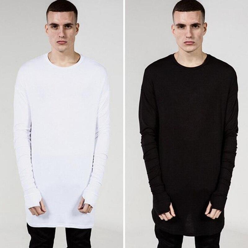 Kanye West T-shirts Men Thumb Hole Cuffs Long Sleeve Tyga Swag T Shirt Justin Bieber Skateboard Side Split T shirt Extend Long