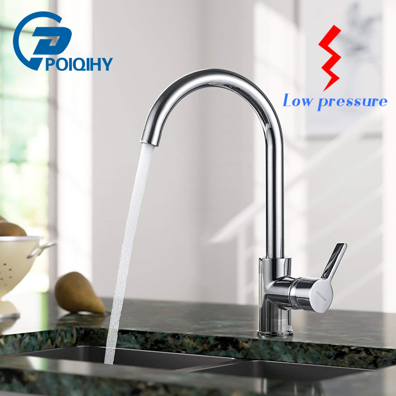 POIQIHY Low pressure kitchen sink faucet Rotatable chrome kitchen mixer tap Simple and cheap kitchen faucet цена 2017