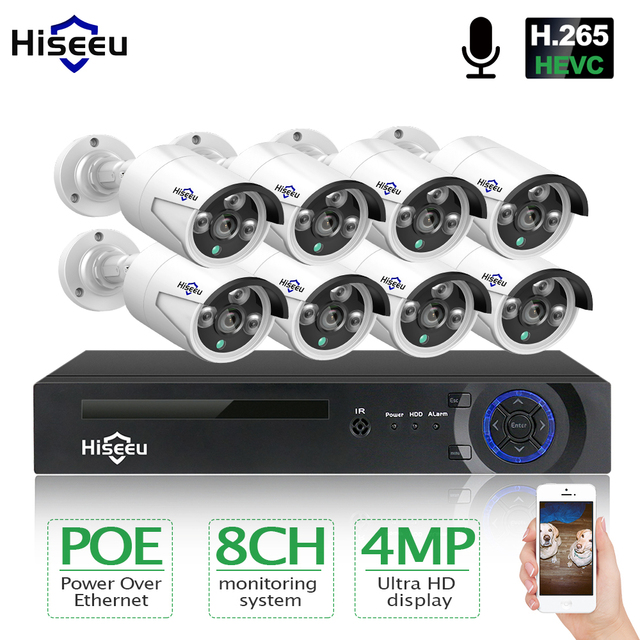 Hiseeu 8CH 4MP POE Security Camera System Kit H.265 Audio Record IP Camera IR Outdoor Waterproof CCTV Video Surveillance NVR Set
