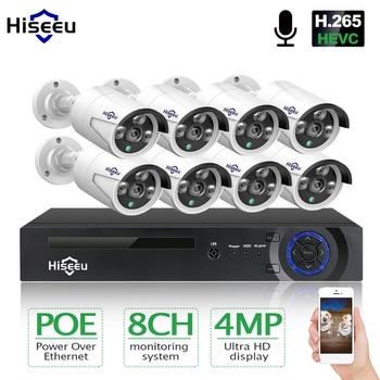Hiseeu 8CH 4MP POE Sicherheit Kamera System Kit H.265 Audio Record IP Kamera IR Im Freien Wasserdichte CCTV Video Überwachung NVR set