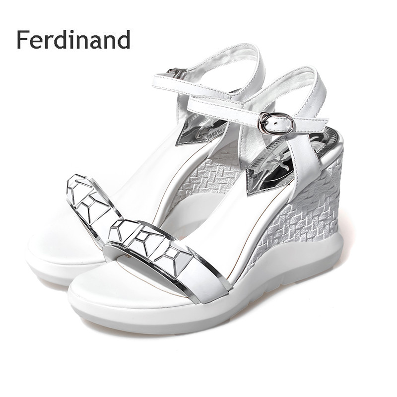 New wedges high heel shoes Women Sandals Genuine leather Peep toe Buckle Rivet Summer Casual shoes Solid color Black White 2017 summer new rivet wedges sandals creepers women high heel platform casual shoes silver women gladiator sandals zapatos mujer