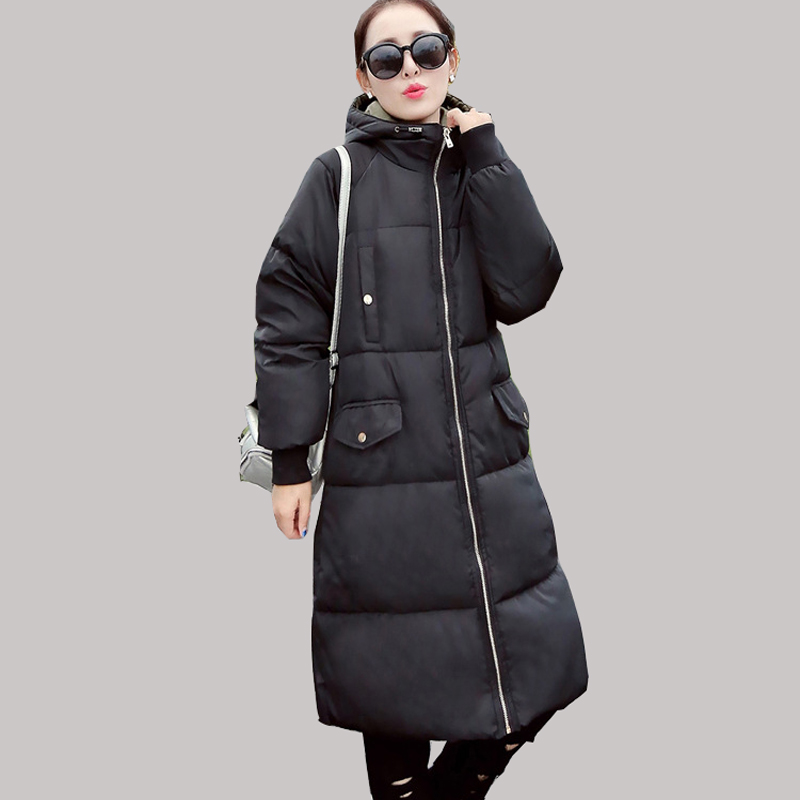2016 Winter Korean Star Style Fashion Long Cotton Padded Jacket Women Slim Hooded Coat With Big Pocket Cotton Warm Parkas JA014