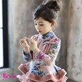 Зима осень ребенок одежда детская одежда ожерелье девушка топы толщиной куртка детская Принцесса фланель подкладка верхней одежды пальто