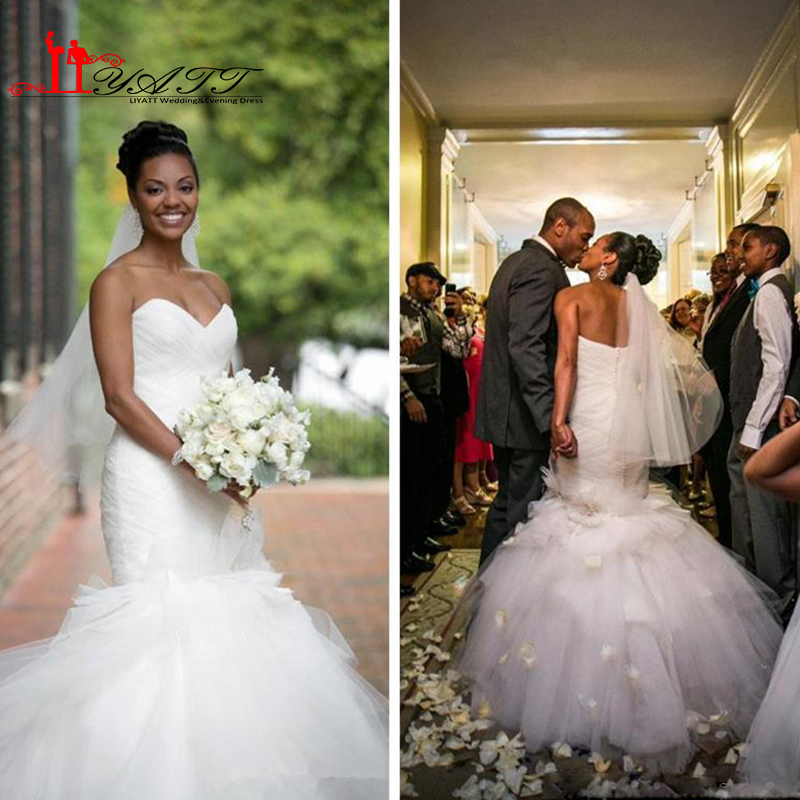 2016 Backless Mermaid Wedding Dress Vintage Sweetheart Tulle Ruffles Tiered Skirts Y African American Bridal Gowns Bandage In Dresses From