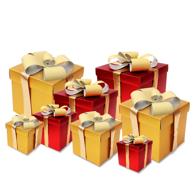 christmas gift boxes decorated bow christmas ornament square matte gold christmas gift box