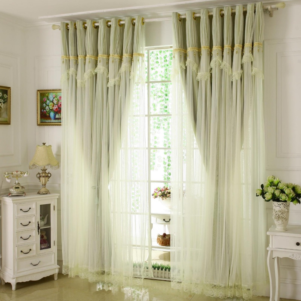 Korean Solid Color Lace Window Tulle Curtain Girl For living Room ...