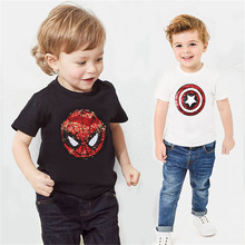 sequins cartoon girls T boys T-shirt baby glitter tee kids tops magic  discoloration spiderman captain heart reversible sequins цена 2017