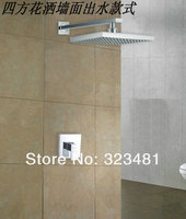 Brass Bathroom In wall Shower Set for hotel Chrome plated Rainfall Shower faucet Set+8 Shower Head Free Shipping