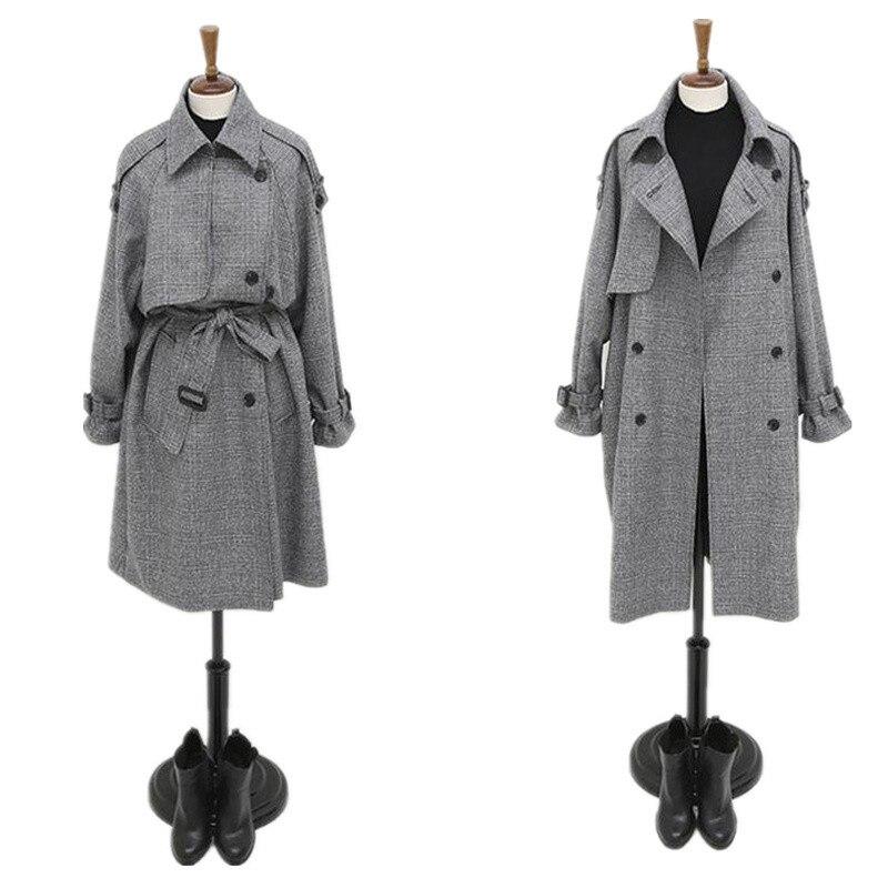 Long Mince Plaid Femmes C374 Outwear 2018 Taille Manteau Feiminino Plus Double Hiver Automne Breasted De Gray Femelle La Tranchée Nouvelles Pvg7cqBx