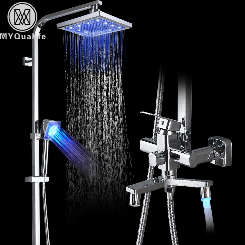 Chrome LED Rainfall Shower Faucets Set 8 led Light Shower Head Color Changing handheld shower Swivel spout Bath Shower Mixer массажер д ухода за кожей лица gezatone 8 марта женщинам