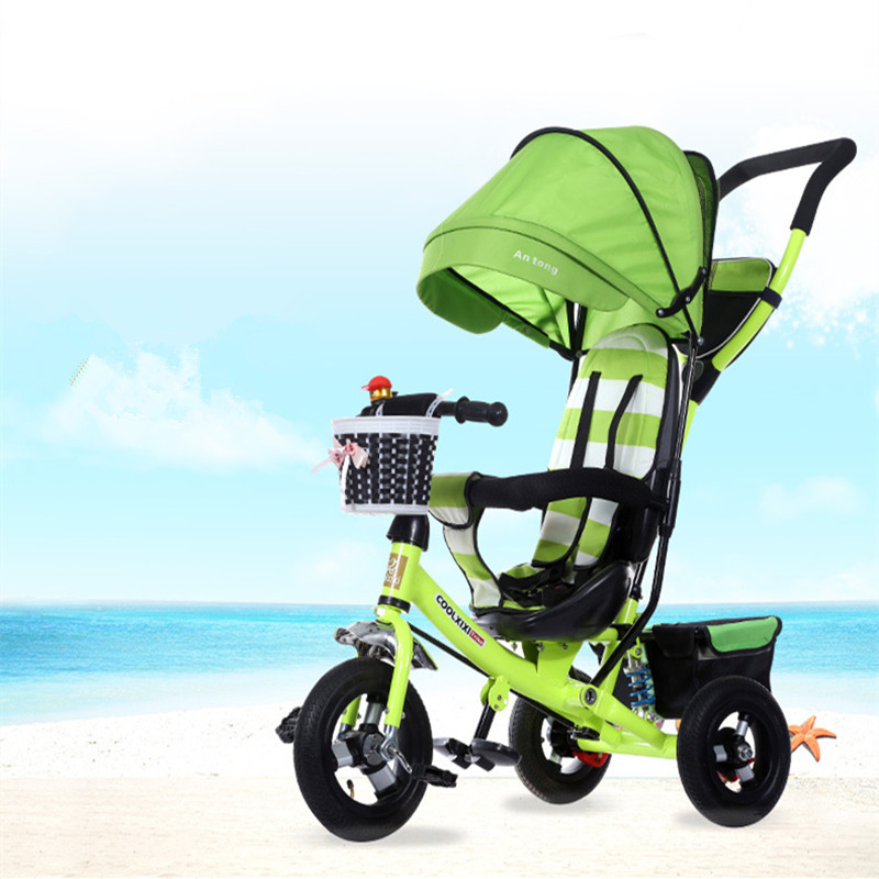 New children's tricycle, damping folding bicycle, titanium air wheel, baby Bicycle Child Bike Baby trolley titanium folding bike bicycle pedal axles spindles shafts 55g pair for crops vp one vp one vpone primary gold