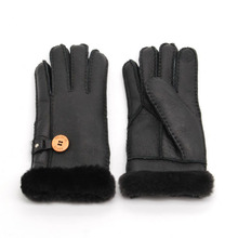 цены Genuine leather women warm gloves with button ladies fashion thermal mittens waterproof for skiing gloves