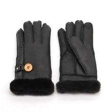 → Женские теплые перчатки из натуральной кожи с пуговицами. Модные женские теплые рукавицы для