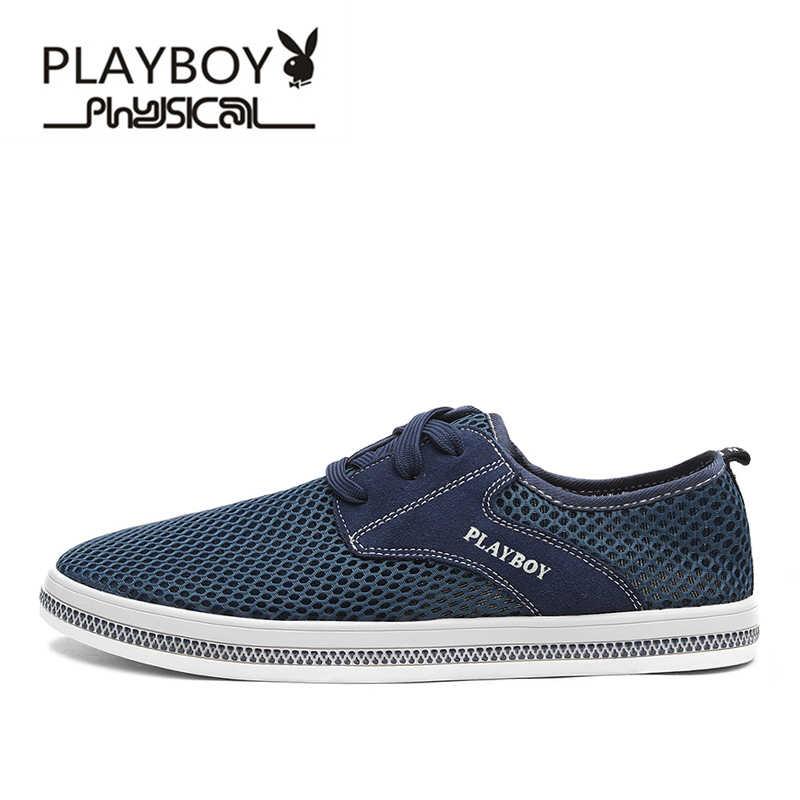 PLAYBOY Merk 2017 Mesh Ademend Schoenen, 100% Hoge Kwaliteit Mannen Casual Schoenen, luxe Schoenen Mannen DA73018