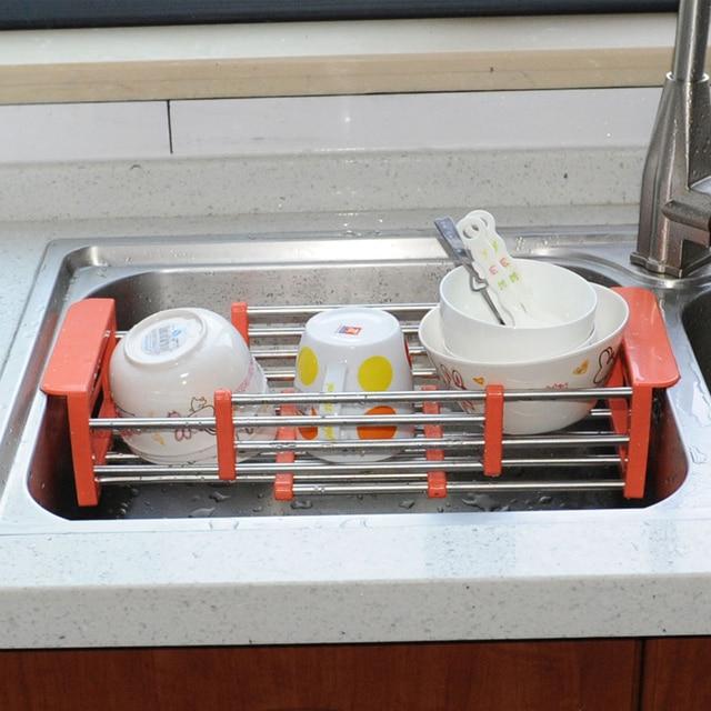 Telescopic Kitchen Sink Tray Stainless Steel Dish Rack Insert Storage  Organizer Drying Tray Shelf Draining Rack