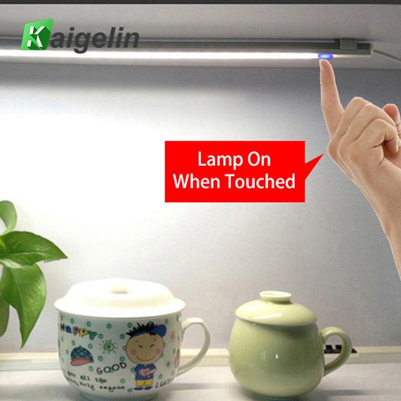 10 pièces DC 5 V tactile capteur lumière LED barre Dimmable sous armoire lumière de cuisine 21 LED s dur rigide Bar lumières veilleuse