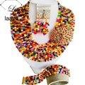 Индийский Люкс Для Колье Нигерии Свадебный Африканские Бусы Кристалл Mulitcolor Дубай Ювелирные Наборы AL200
