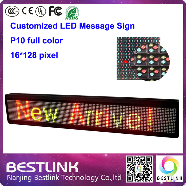 Полноцветный p10 наружная из светодиодов вывеска с p10 из светодиодов дисплей 16 * 128 пикселей rgb программируемый знак сообщение из светодиодов такси топ diy kit