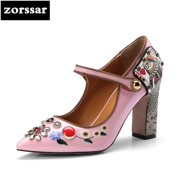{Zorssar} 2018 New arrival Fashion Retro Style women Heels pumps Pointed toe Shallow Mary Jane High heels womens Wedding shoes все цены