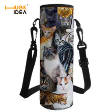 HUGSIDEA Portable Water Bottle Sleeve Lovely Cat Print Drink Bottle Carrying Pouch Bag with Handle Sport Water Bottle Covers double deck water resistant cube carrying bag pouch black