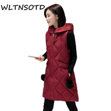 w Fashion Autumn Winter Vest Slim Hooded Warm Women Jacket Long Cardigan Casual Coat Plus Size Female Sleeveless Outwear