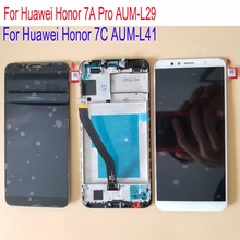 Frame 5.7'' For Huawei Honor 7A Pro AUM-L29 LCD Dsplay Touch Screen Digitizer Assembly For Honor 7C AUM-L41 LCD Screen Display jonsnow for huawei honor 7c 5 7 aum l41 tempered glass lcd screen protector for honor 10 9 8 7a 7c pro aum l29 protective film