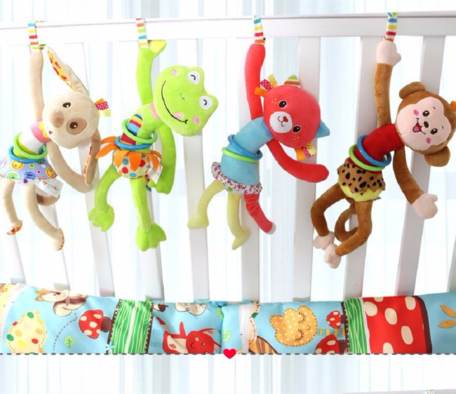 Baby Rattle Toys Bed Stroller Hanging Animal Musical Mobile Bell Infant Educational Toys Pull Shock Rattles Baby Gift G0381