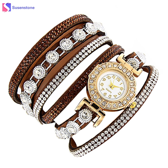 Luxury Rhinestone Women Fashion Casual Analog Quartz Watch Weave Leather Band La