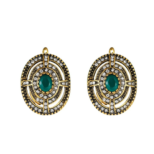 Yimloi Vintage Earrings Jewelry Gold Color For Women Green Gem Accessories Stud 2018 New