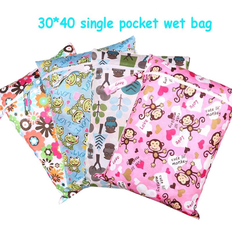 30 40cm PUL printed single pocket diaper bag waterproof wet bag font b baby b font