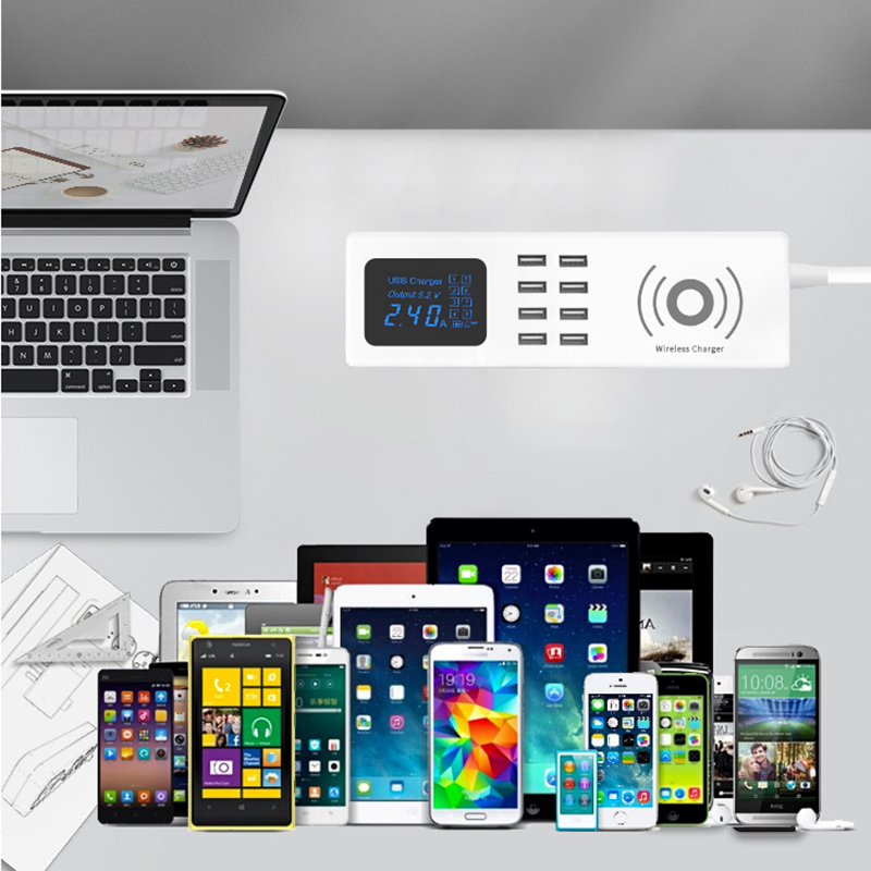 Thbelieve 8 USB Wireless Charger USB HUB Desktop Socket Power Multiple USB Charging Station EU UK US Plug 1.5 M Drop Shipping (5)