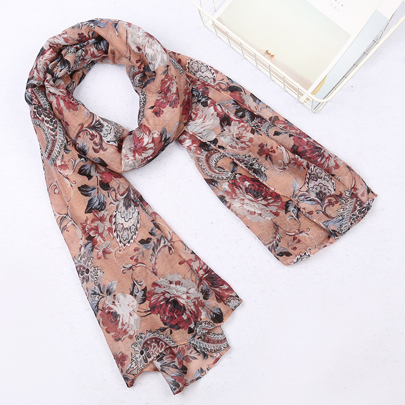Winter Foulard Femme   Scarves   Voile Long   Scarf   Women Flowers Printed   Wrap   Shawl Stole Handkerchief Echarpe Hijab Scarves180*90CM