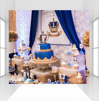 Royal Blue Crown Photography Backdrop Prince Baby Shower Damask Background Children Birthday Photo Booth Props Studio CZ 113