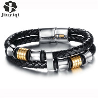 Stainless Steel Double Charm Bracelet Men Black Woven Leather Bracelet Bangle For Men Jewelry 2016 Valentine
