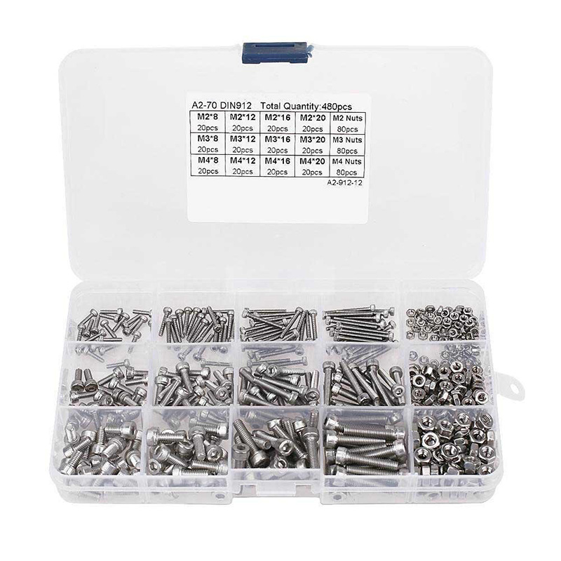 Hot Sell 480pcs Stainless Steel Hex Socket M2 M3 M4 Head Cap Screws Nut Assortment Kit Set For Hardware Accessories 2pcs set lovers mask anti fog and haze anti pm2 5 breathable breathing valve couples masks dust masks pink blue 2pcs gm5217