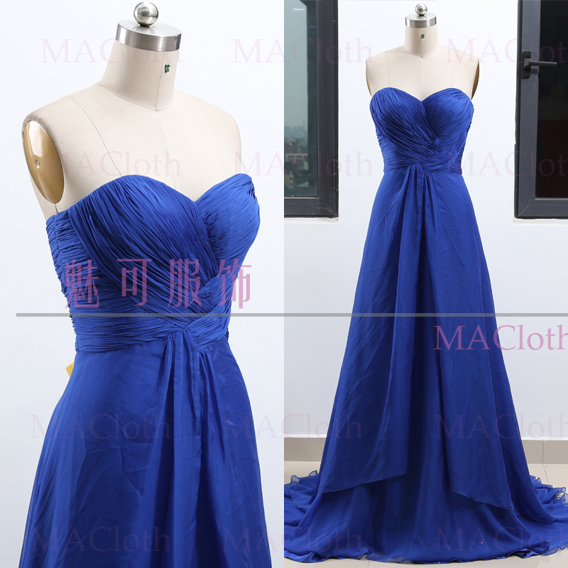 MACloth Blue A-Line Strapless Floor-Length Long Chiffon   Prom     Dresses     Dress   M 261996 Clearance