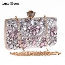LUXY MOND Kristall Abend Handtaschen Dame Tageskupplung Strass Geldbörse mini Handtaschen mit Zwei Ketten mappe Schulter Taschen ZD663