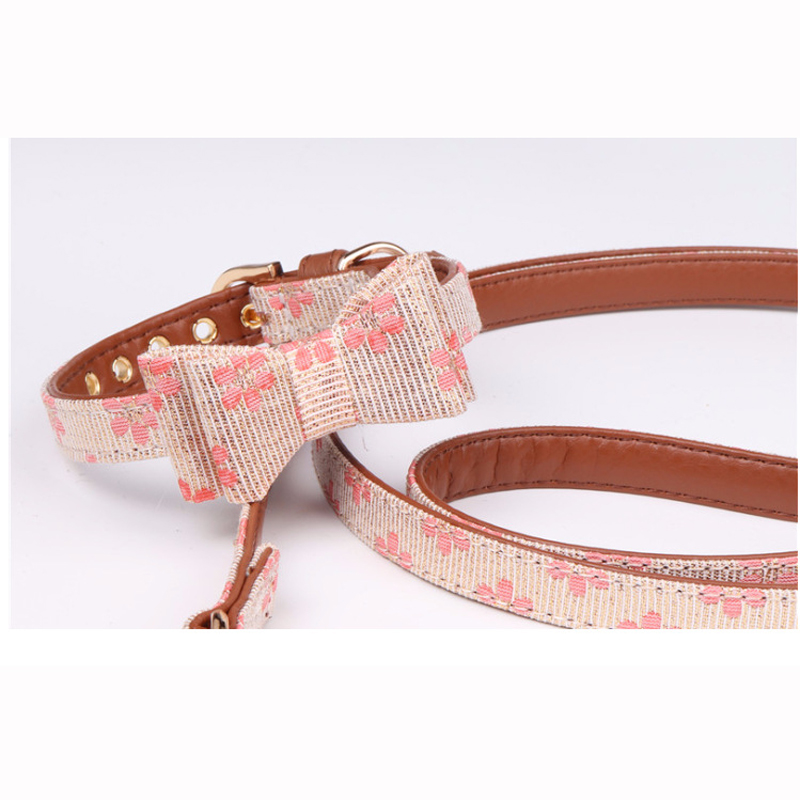 Pet Collar Little Flower style dog collar bow tie pet pupply product dog collar set necklace S Leash Lead