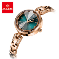 Julius Brand Lady Simple Stainless Steel Watch Woman Luxury Rhinestone Bracelet Wirstwatches Quartz Dress Watches Gifts Reloj