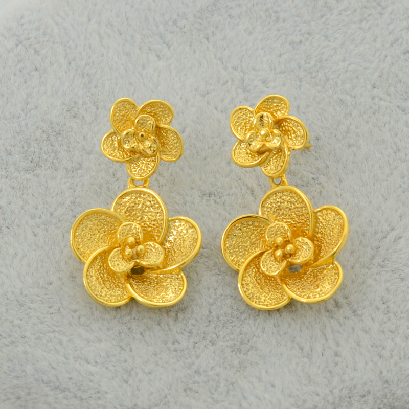Anniyo Trendy Gold Color Jewelry Set Flower Pendant Necklace ...