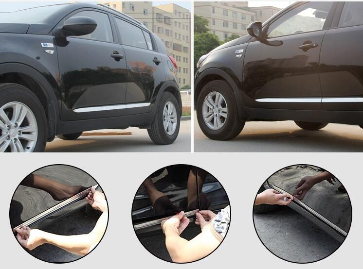 Higher star stainless steel 4pcs car Side Door surface protection decoration trim for Kia Sportage 2011