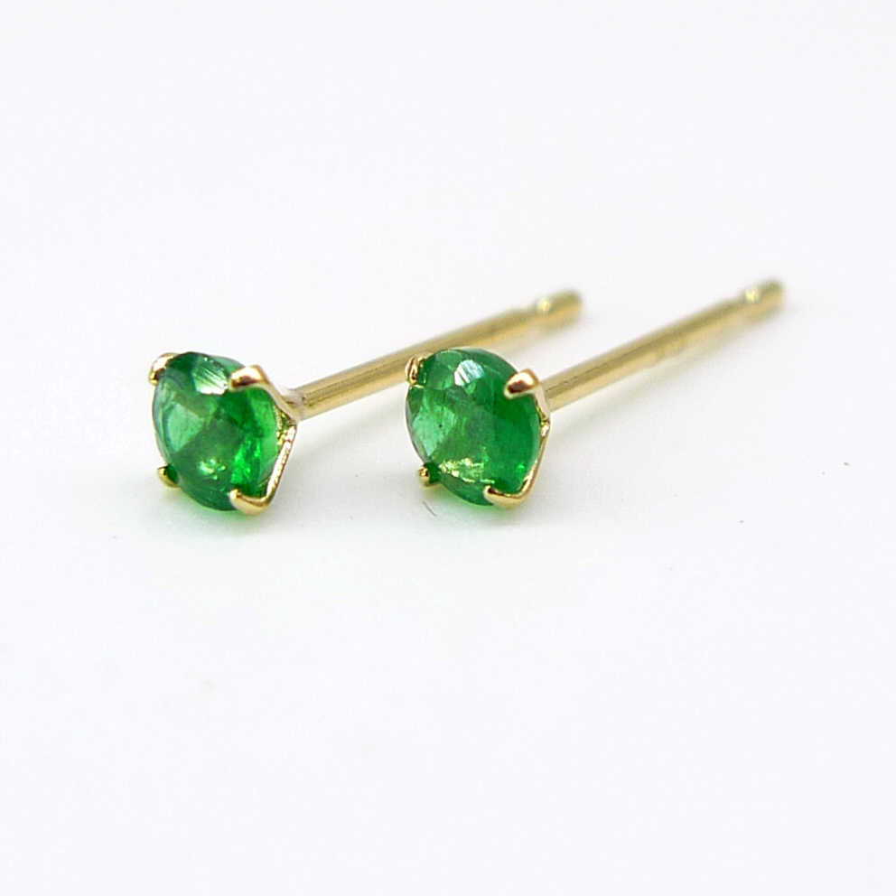 39e58f1b2 10k 18k solid gold natural emerald earrings women 2mm 3mm size gold or  white gold 1PCS