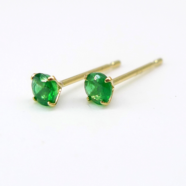 10k 18k Solid Gold Natural Emerald Earrings Women 2mm 3mm Size Or White 1pcs
